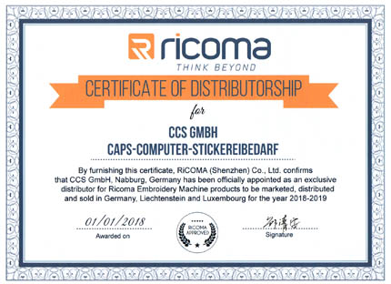 Exclusive Distributor Certificate